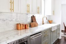 17 a farmhouse kitchen with dove grey and whiet cabinets, brass and copper touches for a cool glam feel