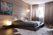 17 an ultra-modern bedroom with a wood clad wall and matching floor, a plaform bed and a faux fur rug