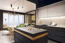 18 a minimalist space with greaphite grey lower cabinets and white uppers, a black ceiling and lots of additional light