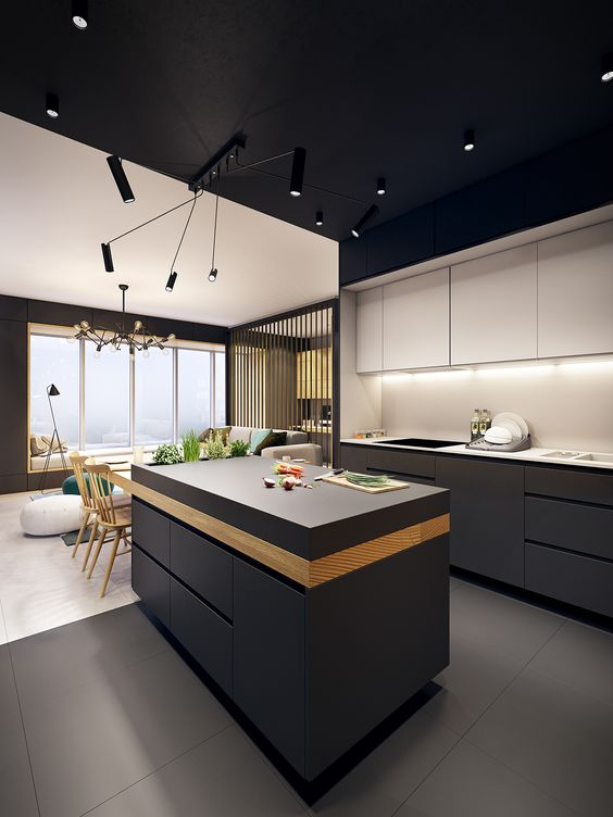 a minimalist space with greaphite grey lower cabinets and white uppers, a black ceiling and lots of additional light