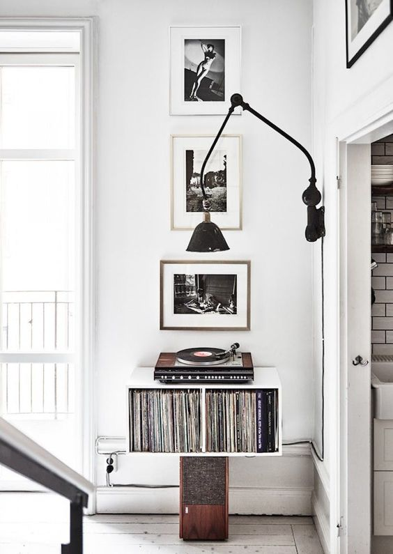 a small nook used for storing vinyl and for playing it too - only for melomans and vintage lovers