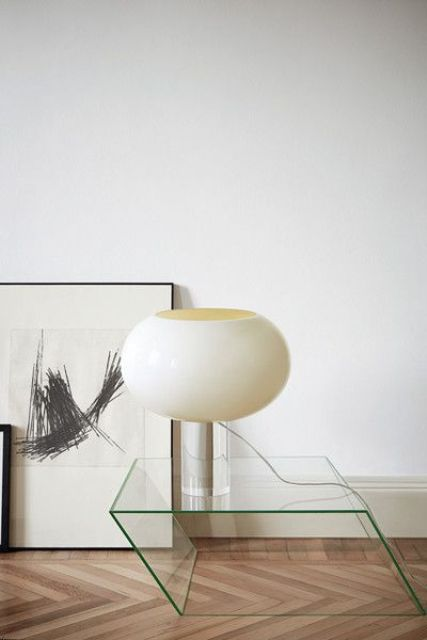transparent geometric glass side table looks like a modern sculpture