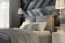 20 a modern space with a chevron clad wooden wall in grey and black