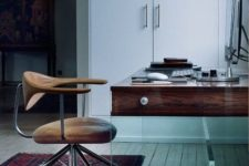 21 a gorgeous desk of wood and glass looks very inspiring and chic, the combo of these materials is stunning