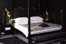 21 a luxurious bedroom with black walls, a glam chandelier, animal skin rugs and leather furniture just makes drop a jaw