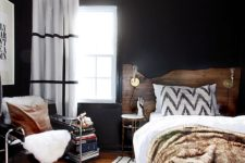 22 a mid-century modern space with a boho feel, black walls are balanced with whites and natural wood