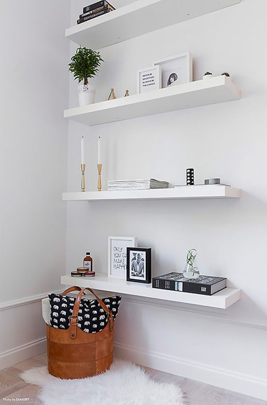 open shelves look airy and not bulky, they are ideal for a small corner and you'll get additional storage