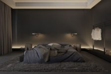 24 a modern masculine bedroom with a large bed and all black and graphite grey, additional lights make it brighter