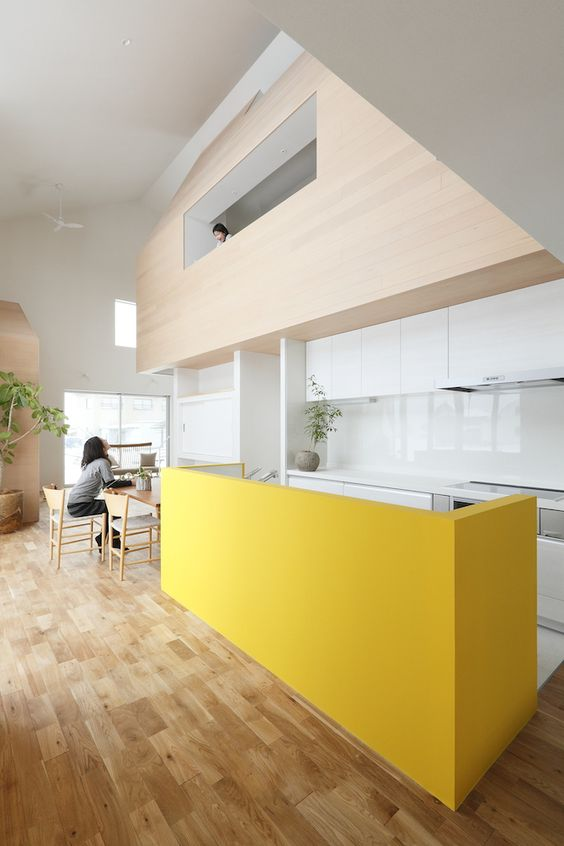 a minimalist white kitchen with a yellow kitchen island looks wow