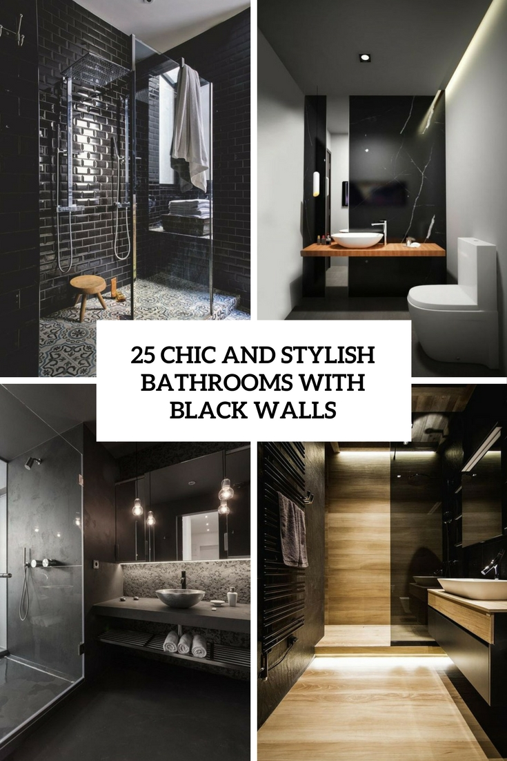 chic and stylish bathrooms with black walls cover
