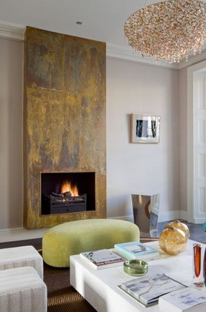 25 stylish ways to clad or cover a fireplace digsdigs for Tiled chimney breast images