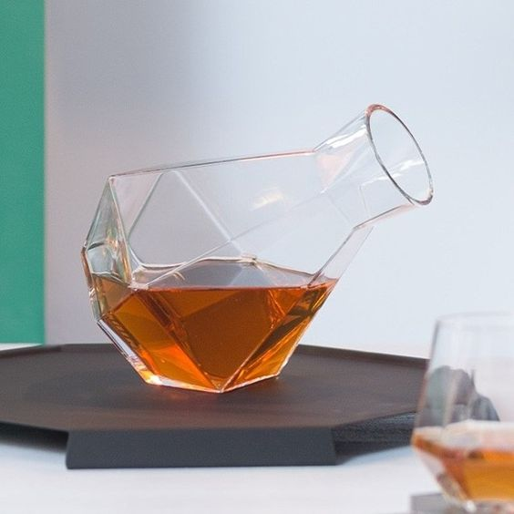such a gorgeous geometric carafe will be a cool idea for any wine lover