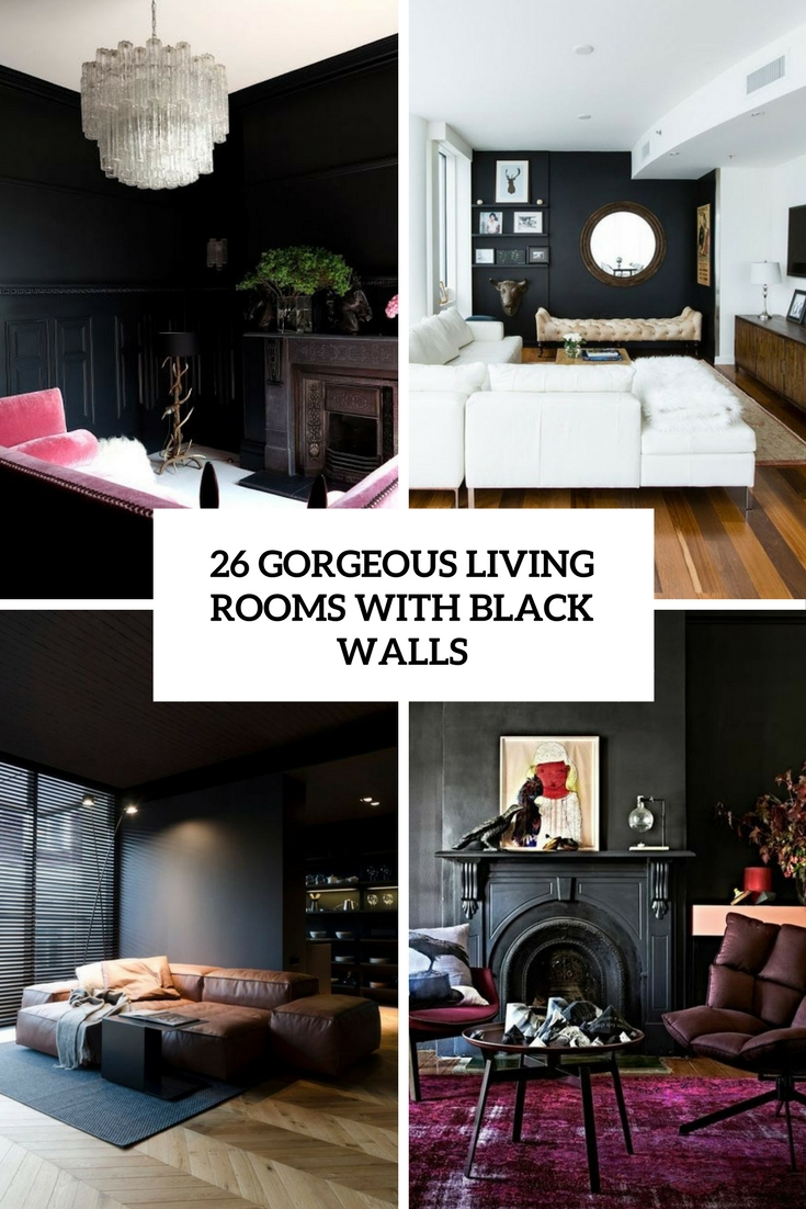 26 gorgeous living rooms with black walls digsdigs for Gorgeous living rooms