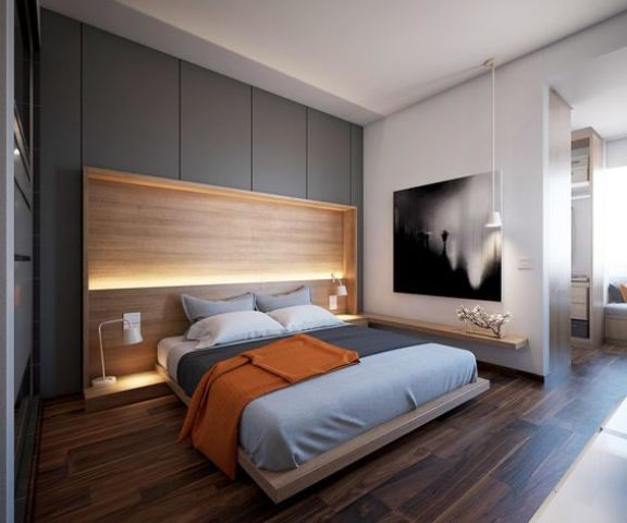 several layers of light, a wooden platform bed and additional shelves with lights look modern and pretty