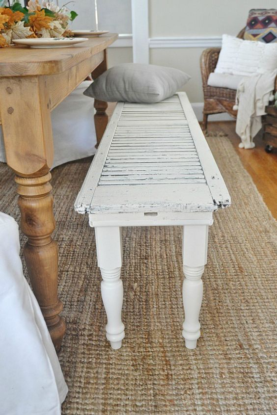 transform a shutter into a cool white bench for the dining space