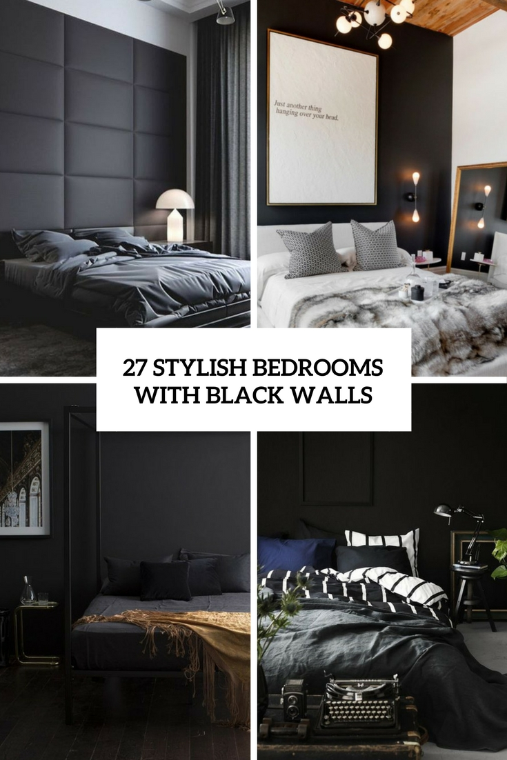 stylish bedrooms with black walls cover