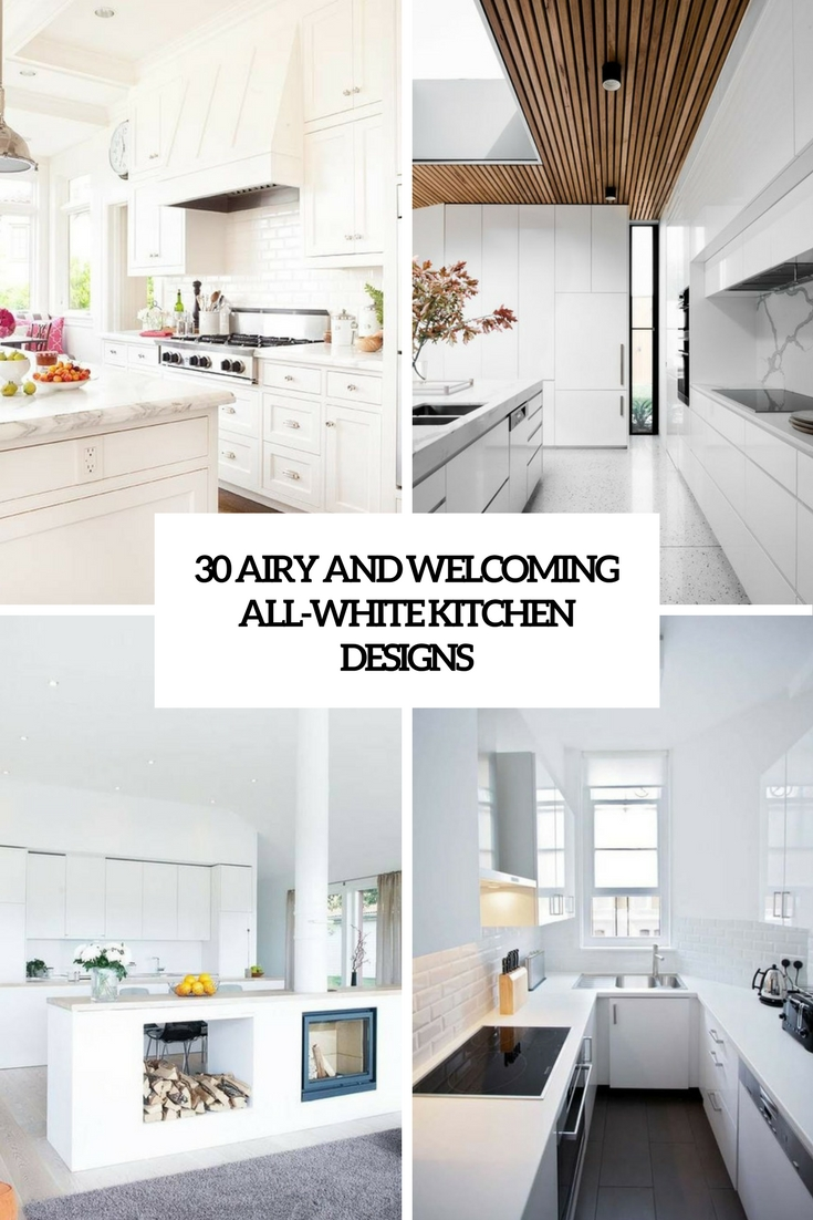 30 Airy And Welcoming All-White Kitchen Designs