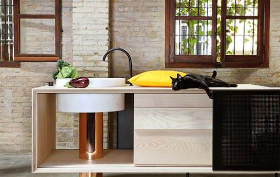Float kitchen island by Alberto Sanchez for Miras