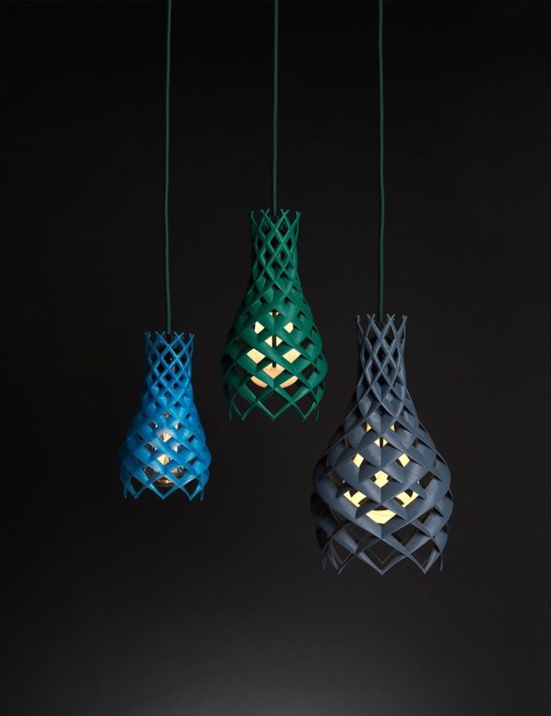 Ruche are eye catchy lamps made by 3D printing in various bold colors