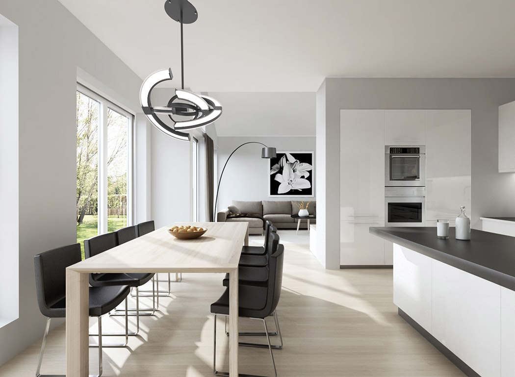 Saturn pendant lamp is a unique futuristic piece for any modern space, it represents a clock and looks very sculptural