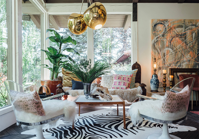 This amazing living room is in the eclectic home with a touch of Gothic and it looks amazing