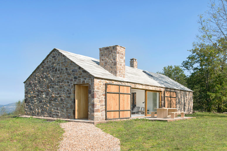 Villa Slow is a rustic holiday retreat created from a traditional stone peasant cabin, modernised and with a cool look