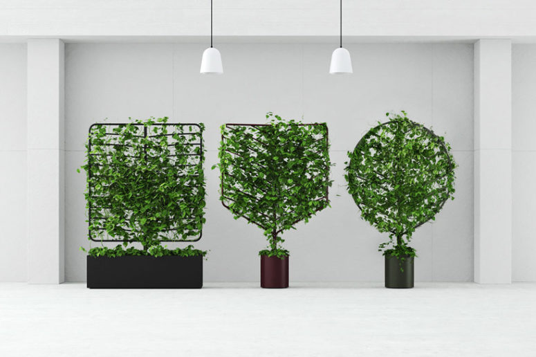 Each botanical planter screen functions in the same way as a single, self-watering planter pot