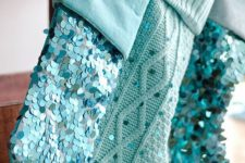 02 cable knit and sequin blue stockings with monograms are cool for a shiny touch