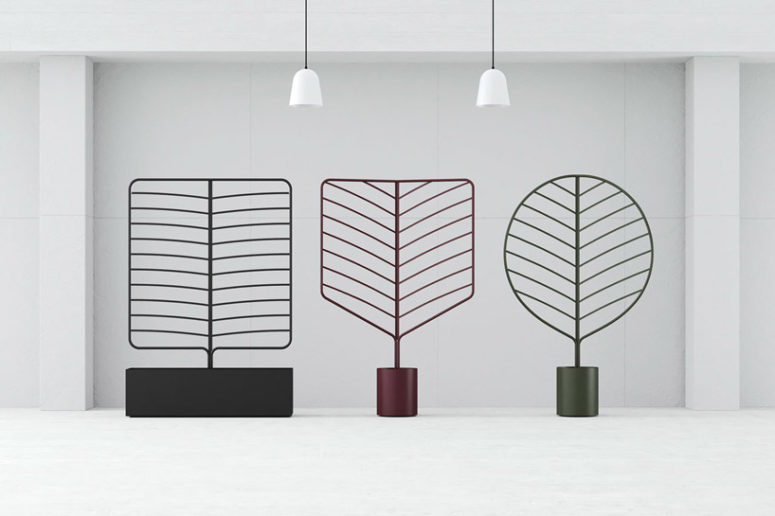 The dividers come in three different styles resembling the skeletal structures of leaves
