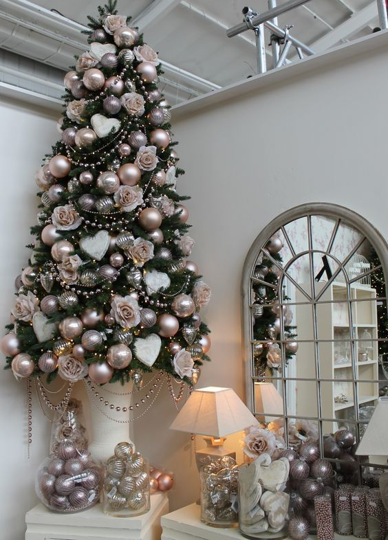 champagne copper and silver christmas tree decor with a shabby chic feel