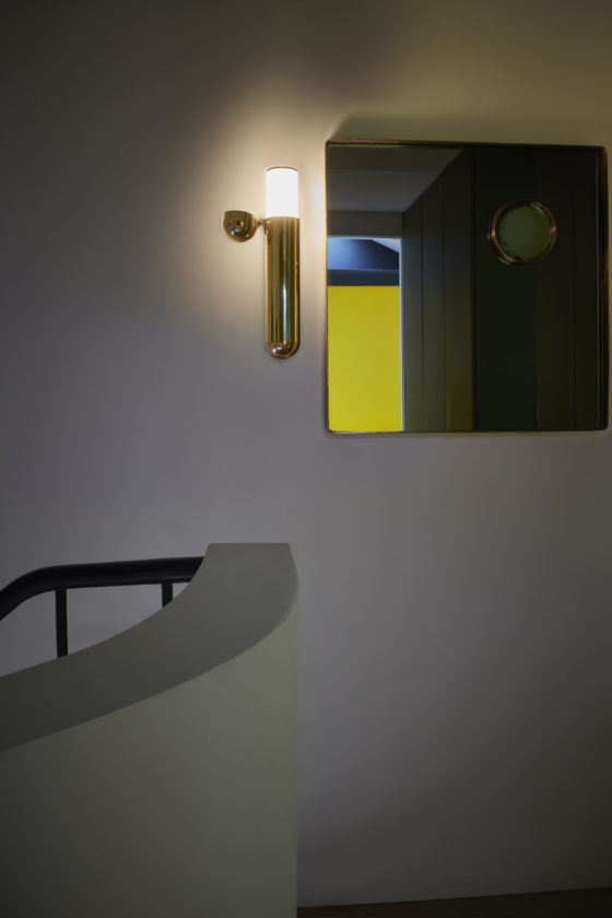 ISP wall lamp designed by Ilia Potemine looks shiny and bold and reminds of a capsule