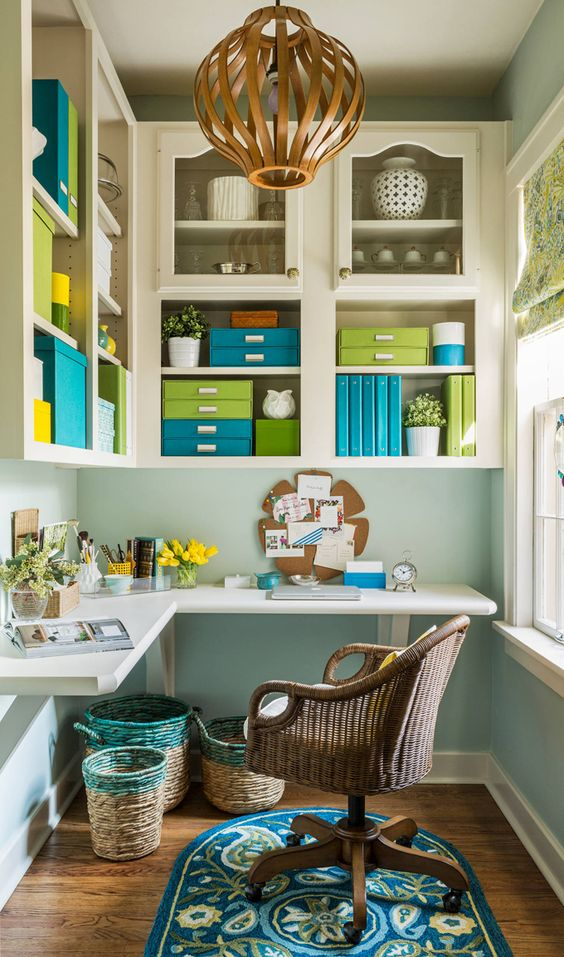 a colorful blacony crafting nook is a cool idea for those who lack space at home