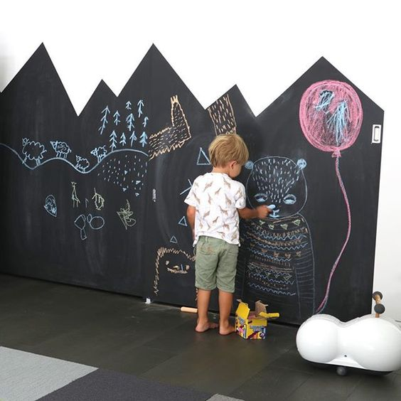 a partly chalkboard wall with a roof pattern is great for chalking on it