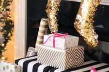 04 gold sequin stockings for Christmas will add a cute glam touch to your space