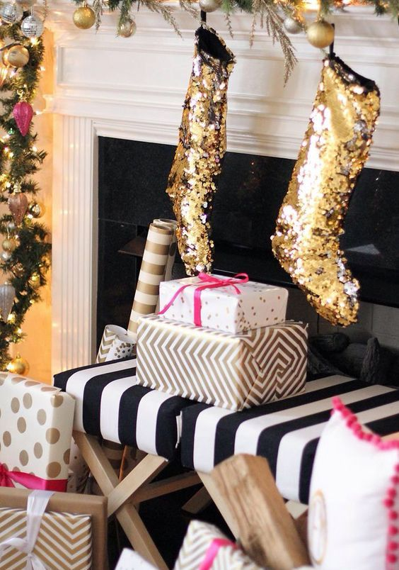 gold sequin stockings for Christmas will add a cute glam touch to your space
