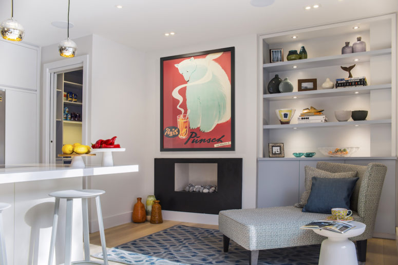Fireplaces, working and non-working ones, make nooks of this home cozier