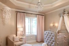 05 a cozy pastel princess-themed nursery for a little girl is a chic glam idea