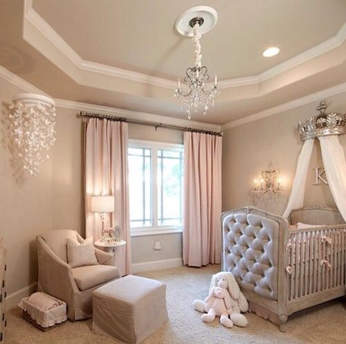 a cozy pastel princess-themed nursery for a little girl is a chic glam idea