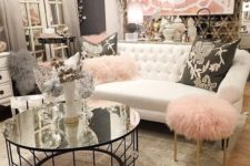 05 dark grey, creamy shades and pink touches make up a cool glam space