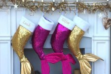 05 gold and purple sequin mermaid tail stockings for Christmas will excite your daughters
