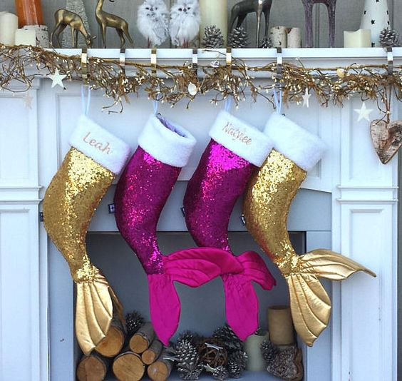 gold and purple sequin mermaid tail stockings for Christmas will excite your daughters