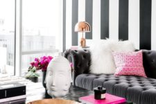 06 black and white is a timeless combo, and to make it glam add shiny metal touches and neon pink details
