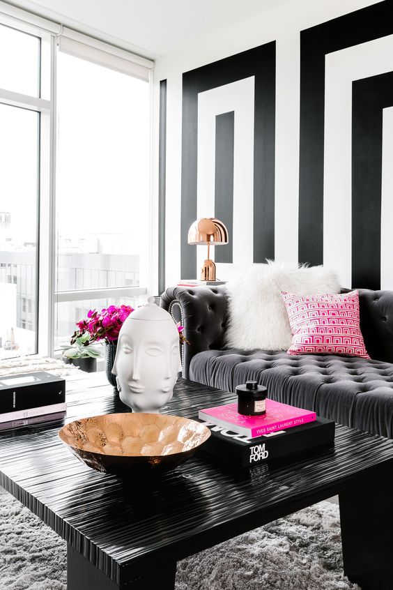 Black and white is a timeless combo and to make it glam add shiny metal
