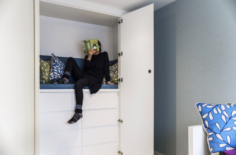Bedrooms on the fourth floor were designed for kids and have a lot of fun solutions