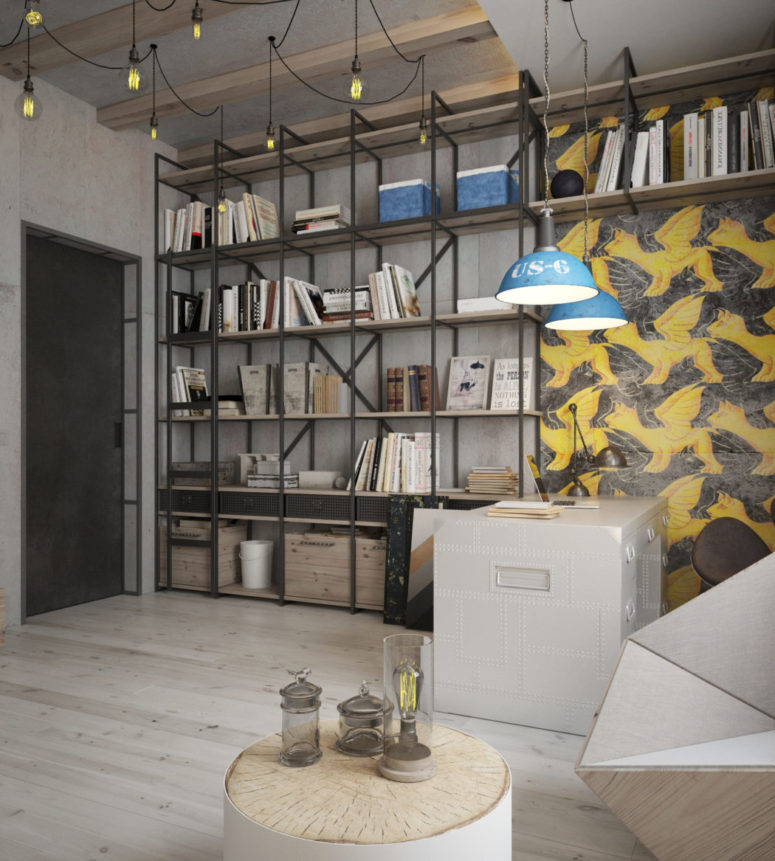 The home office features industrial lamps and lots of storage shelves that take the whole wall
