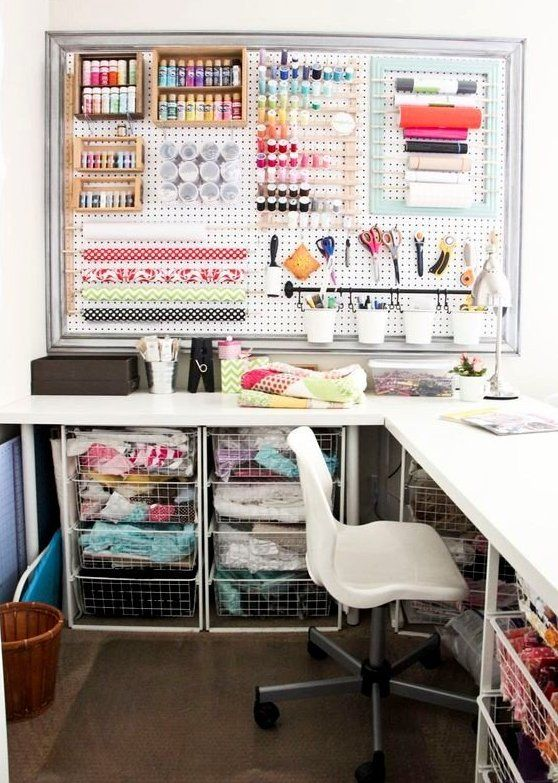 a cool sewing space with a corner desk and fabric storage drawers