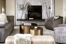 08 a glam space can be done in grey, creamy shades, with a black statement and shiny metals