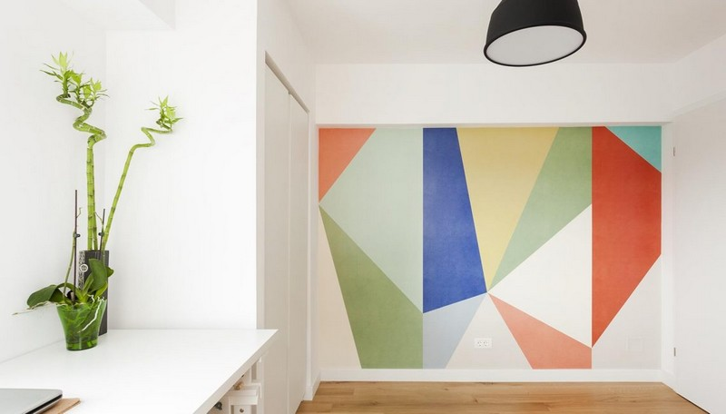There's a bold geometric wall in here, and some bamboo that enlivens the space