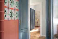 09 There's a coral wardrobe with bold geometric mosaics to fit the furniture