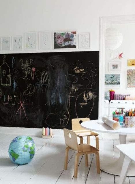 a chalkboard wall is a must for a kid's playing space, it allows much art